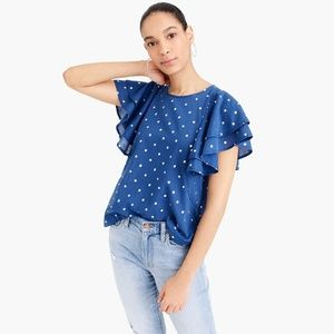 J. Crew Women's Ruffle Flutter-Sleeve Top